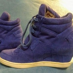 Ash Shoes BABE Hidden Wedge Trainers, Blue Suede